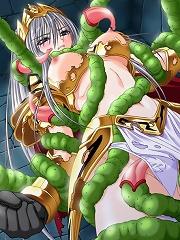 Naoko Akagi is nailed by Tentacle Evil